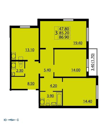 Планировка Трёхкомнатная квартира площадью 87.1 кв.м в ЖК «Cinema»