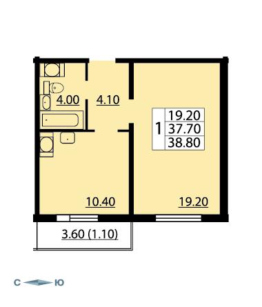 Планировка Однокомнатная квартира площадью 38.8 кв.м в ЖК «Cinema»
