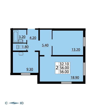 Планировка Двухкомнатная квартира площадью 55.5 кв.м в ЖК «Cinema»