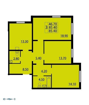 Планировка Трёхкомнатная квартира площадью 85.2 кв.м в ЖК «CINEMA»