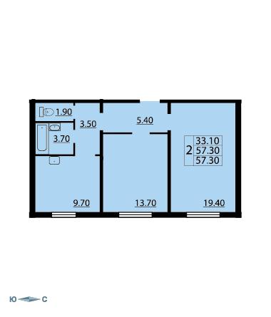 Планировка Двухкомнатная квартира площадью 57 кв.м в ЖК «Cinema»