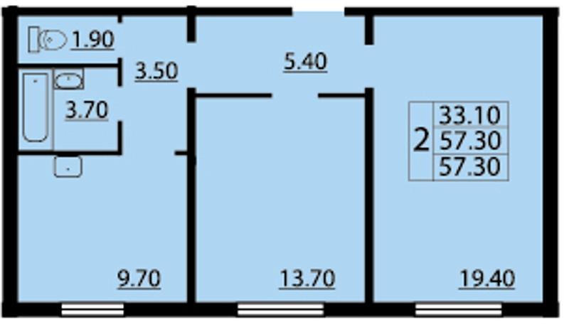 Планировка Двухкомнатная квартира площадью 57.3 кв.м в ЖК «Cinema»