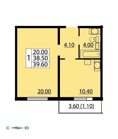 Планировка Однокомнатная квартира площадью 39.6 кв.м в ЖК «Cinema»